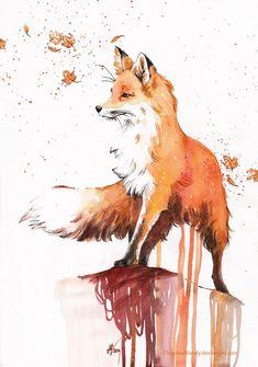 Risultati immagini per fox watercolor