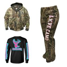 """REALTREE APG CAMO BOMBER JACKET """"LOVE CAMO"""" REALTREE APG CAMO LOUNGE PANTS BLACK LONG SLEEVE WITH AQUA BLUE PINK LOGO (also available in short sleeve) Available at BuckedUpApparel.com  #BuckedUp #hunting #deer #camo #country #monsterjam #countrygirl #countryboy #redneck #realtree #woods #backwoods #backroads #countrylife #hillbilly #outdoorsy #bonefire #trucks #outdoorsman #deerseason #bowhunting #outdoors #yeeyee #whatgetsyououtdoors #shedhunting #antlerswithattitude #fishing #mudding"""