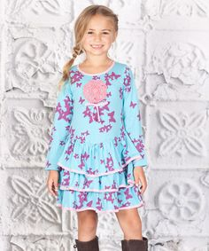 Take a look at this Blue & Purple Butterfly Tiered Lilly Dress - Toddler & Girls by Jelly the Pug on #zulily today!