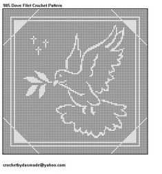 985 Dove Filet Crochet Doily Wallhanging Afghan Pattern