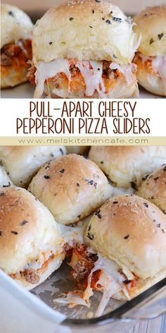 These quick and easy pepperoni pizza sliders make a perfect game day/party food OR a delicious dinner that's a fun spinoff from traditional pizza night!