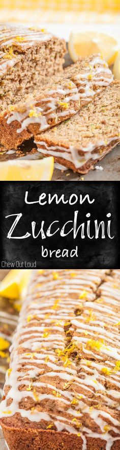 Moist, delicious Lemon Zucchini Bread. Perfect for breakfast, brunch, or snack attack. The drizzle is awesome! #fall #baking #treats