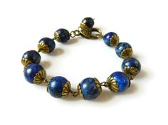 Indigo Lapis Bracelet Royal Blue Bracelet Antique by MsBsDesigns
