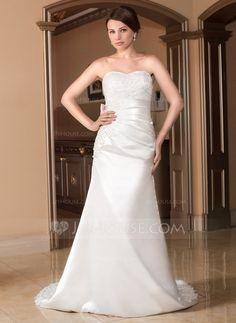 [US$ 152.99] A-Line/Princess Sweetheart Court Train Satin Wedding Dress With Ruffle Lace Sash Beading Bow(s) (002012934)