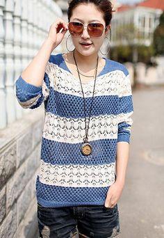 $19.90 USD  [grls76000060]Leisure Sweet Stripe Pattern Cutout Knit Sweater