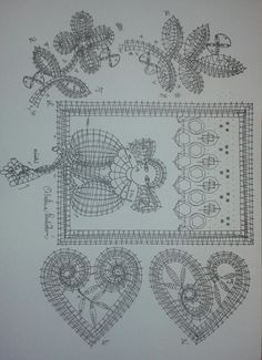 Pica2 varios Bobbin Lace Patterns, Lace Heart, Lace Jewelry, Lace Making, Lace Detail, Vintage World Maps, Weaving, Butterfly, How To Make
