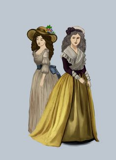 """1780 .:4:. by Tadarida.deviantart.com on @deviantART - From the artist's comments: """"Ladies on my picture are wearing respectively chemise à la reine and robe à l'anglaise. Chemise is a simple, loose gown, made of muslim, popularised by Marie Antoinette."""""""
