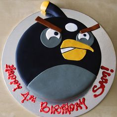cake black angry bird (google search).  the almost-4-year-old has put in an order for this for October!