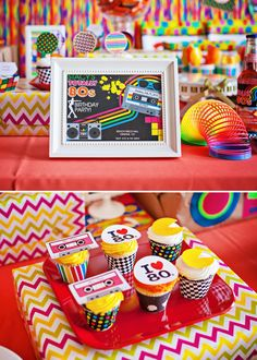 Radical Themed Birthday Party with rainbow jello shots, casette tape cupcake toppers, rubix cubes, wild candy, sugar rush stuff and tons of neon! 80s Birthday Parties, 80th Birthday, Birthday Party Themes, Thirtieth Birthday, Eighties Party, 80s Theme, Party Planning, Party Time, Diy