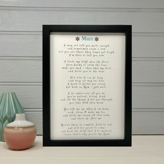 Mothers Day Gift Funny Poem For Mum Framed Print Birthday Personalised