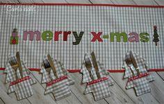 Tischläufer Applikation Weihnachten merry christmas