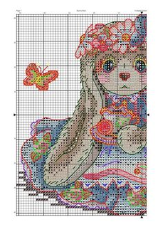 Cute Cross Stitch, Cross Stitch Patterns, Fizzy Moon, Blue Nose Friends, C2c, Betty Boop, Cross Stitching, Bunny, Kids Rugs