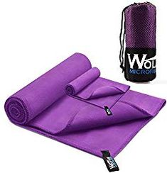 2 Pack Microfiber Travel Sports Towel Wolfyok XL Ultra Absorbent and Quick Drying Swimming Towel 58 X 30 with Hand/Face Towel 24 XÂ 16 for Sports Backpacking Beach Yoga or Bath Purple -- Check out this great product. (This is an affiliate link) Hanging Shower Caddy, Rv Bathroom, Shower Cap, Face Towel, Looks Cool, Towel Set, Beach Trip, Washing Clothes, Hand Towels
