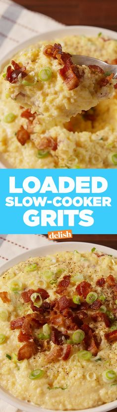 Loaded Slow-Cooker Grits are the comfort food hack you need right now. Get the recipe from Delish.com.