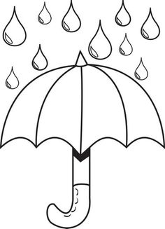 Free, Printable Umbrella with Raindrops Spring Coloring Page