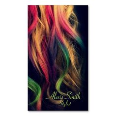 Rainbow Hair Stylist Profile Cards Business Card Template