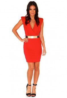 Orange dress with a gold belt. Antonia Structured Cross Over Dress - Dresses - Mini Dresses - Missguided