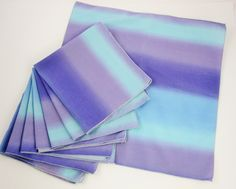 Eight, Large, Ombre Blue and Purple Napkins - Great '70s Style Cotton Napkins - 8 Cotton Napkins - Picnic - Casual Dining by AllVintageFabrics on Etsy