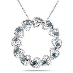 1/4 Carat Blue Diamond Circle Heart Pendant in 10K White Gold