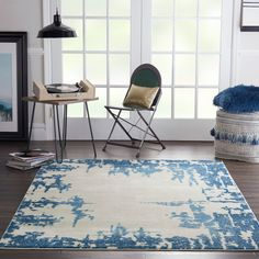 Nourison Etchings ETC04 Ivory / Blue Rug