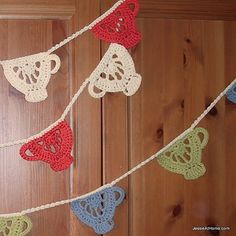 Crochet pattern for teacup garland