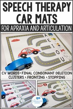 Speech Therapy Car Road Mats Activities for Apraxia, Phonological Disorders, and Articulation activities for minimal pairs, CV words, final consonant deletion, cluster reduction, fronting, stopping, picture cues for apraxia, speech teletherapy, early inte