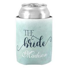 Navy Blue & Aqua Ombre Watercolor Wedding Bride Can Cooler