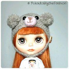 Blythe Fuzzy pompom Teddy Bear hat #kawaii #Blythe #blythehat #teddybear #BlytheCon #doll #customblythe   https://www.etsy.com/listing/291704627/blythe-hat-fuzzy-mini-pompom-teddy-bear