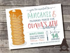 Pancakes & Pajamas Invitation, Pancakes and PJs, Pancake Breakfast Party, Pancakes and PJs, Printable Invitation for Kids Birthday Party by RockCreekPaperCo on Etsy