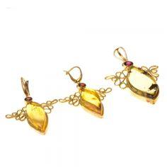 Aranyozott ezüst medál és fülbevaló szett borostyán és gránát kővel /68789/ 1 Drop Earrings, Bracelets, Gold, Jewelry, Jewlery, Jewerly, Schmuck, Drop Earring, Jewels