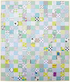 """A Minty Green Patchwork Quilt - Red Pepper Quilts  A GREAT SCRAPBUSTING QUILT USING 3 1/2"""" SQUARES. LOVELY"""