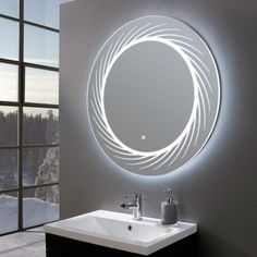 A stand out piece from our new mirror collection, the Finesse ultra slim round LED illuminated mirror certainly lives up to its name. Entryway Mirror, Art Deco Bathroom, Cool Mirrors, Led Lighting Bedroom, Bathroom Mirror, Led Mirror Bathroom, Round Mirror Bathroom, Fancy Mirrors, Bathroom Mirror Design