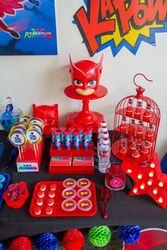 Owlette-inpsired Sweet Table Section from a PJ Masks Birthday Party on Kara's Party Ideas 5th Birthday Party Ideas, 3rd Birthday, Decoracion Pj Mask, Pj Mask Party Decorations, Pjmask Party, Pj Masks Birthday Cake, Festa Pj Masks, Advent Calendars For Kids, Partys