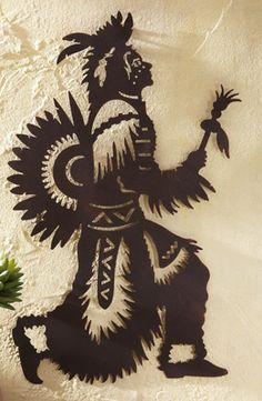 Native American Warrior Metal Wall Art