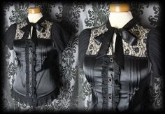 Gothic Black Satin Pussy Bow GOVERNESS High Neck Blouse 8 10 Victorian Vintage - £24.00