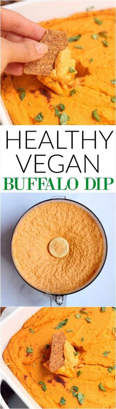 This addictive Healthy Vegan Buffalo Cauliflower Dip is super creamy, decadent, and secretly healthy! You'd never guess it was vegan, gluten-free, and packed with protein. Make it for the big game or as an appetizer for your next dinner party.