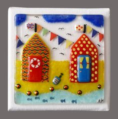 'One-Off' Handmade Fused Glass 'Beach Huts' Mini Painting:2. | eBay
