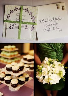 Plum and green wedding invitations with Kathryn Murray Calligraphy