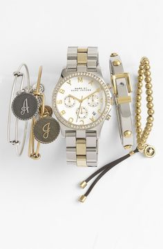 Love this watch and bracelet combo / 'Henry' Chronograph & Crystal Topring Watch