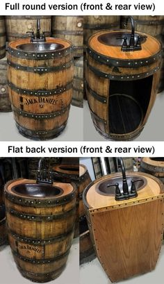 Whiskey barrel sink, hammered copper, rustic antique bathroom / bar / man cave vanity, wine, o Rustic Bathrooms, Wood Bathroom, Man Cave Bathroom, Wood Sink, Wine Barrel Sink Bathroom, Bathroom Sinks, Bathroom Lighting, Vanity Faucets, Bathroom Artwork