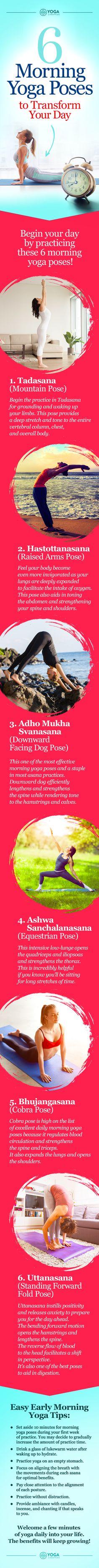 6 Morning Yoga Poses Guaranteed to Transform your Day. #yoga #yogaeverydamnday #morning #morningworkouts #yogapose #healthy