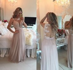 2016 Pearl Pink Chiffon Long Prom Dresses  http://banquetgown.storenvy.com/products/16044684-2016-pearl-pink-chiffon-long-prom-dresses-lace-pearls-illusion-a-line-formal