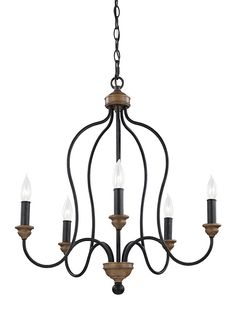 DINING :: D: 23 1/2'' H: 25 1/2'' FEISS :: F2998/5DWZ/WO,5 - Light Chandelier,Dark Weathered Zinc / Weathered Oak