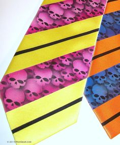 Mens skull striped necktie Yellow tie fuchsia red skull by RokGear.com customer service RokGear@gmail.com