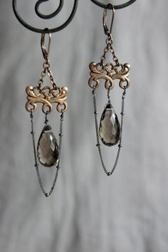 Vintage assemblage earrings watch fob by frenchfeatherdesigns, $72.00