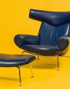 Hans J. Wegner, the Ox chair with ottoman. Designed in 1960 and manufactured by Erik Jørgensen, Denmark.