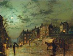 """¿Qué dijo Whistler sobre la creación de los paisajes nocturnos?  Después de visitar a Grimshaw, Whistler dijo esta famosa frase: """"Me consideraba el inventor de los paisajes nocturnos, hasta que contemplé los cuadros de claros de luna de Grimmy"""".  Imagen: Hampstead Hill (1881). Jonh Atkinson Grimshaw. 3 Minutos de Arte."""