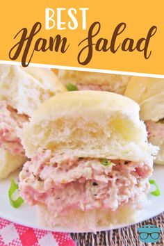 The best ham salad recipe only requires a food processor, leftover ham, mayonnaise, celery, onion and perfectly combined seasonings! Ham Salad Recipes, Sandwich Recipes, Pork Recipes, Appetizer Recipes, Low Carb Recipes, Cooking Recipes, Appetizers, Good Food, Yummy Food