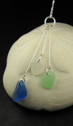 Sea Glass Necklace Sterling Silver Trio por SurfsideSeaGlassGems