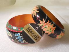 TWO MAGGI B GANZ HAND PAINTED WOOD BANGLE BRACELET MADE IN INDIA- W Tags! #MaggiB #Bangle